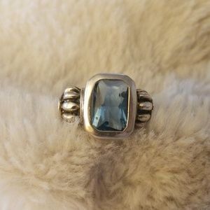 Sterling Silver Aquamarine Ring Size 7